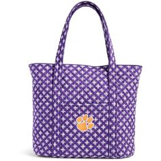 Vera Bradley Clemson Tigers Tote ($125) ❤ liked on Polyvore featuring bags, handbags, tote bags, purple, vera bradley handbags, vera bradley tote, vera bradley, tote purses and purple tote bags