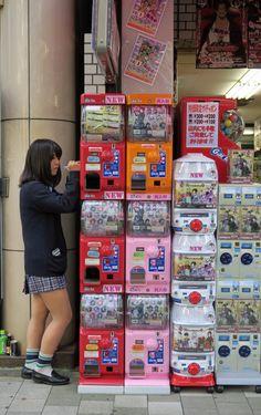vending machines of capsule toys ,Akihabara #Japan