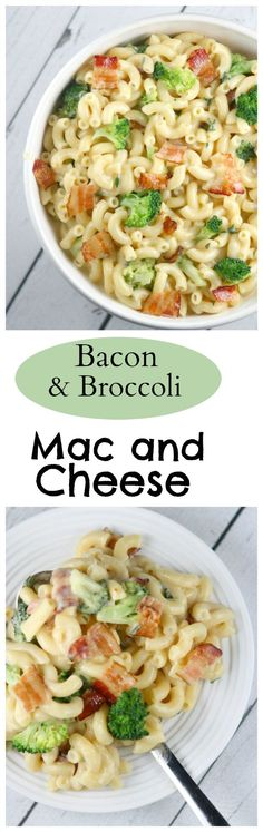 Bacon and Broccoli Macaroni and Cheese : a very creamy, delicious version of Mac and Cheese.  Family friendly dinner idea.