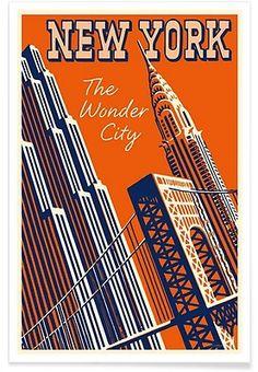 NY The Wonder City - Vintage Art Archive - Affiche premium