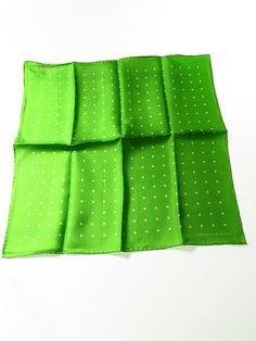 Turnbull & Asser silk pocket square lime green white polka dot - Tweedmans Vintage