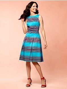 Cute red and turquoise stripped silk dress. My wedding colors.