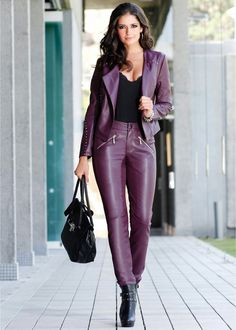 Leather Pants Outfit, Leather Trousers, Leather Dresses, Leather Jacket, Latex, Leder Outfits, Purple Leather, Leather Fashion, Sexy Outfits