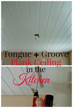 How to install a plank ceiling using tongue and groove pine planks for a farmhouse look in any room. How to install a pla Plank Ceiling, Ceiling Tiles, Ceiling Design, Hallway Ceiling, Accent Ceiling, Shiplap Ceiling, Plank Walls, Ceiling Beams, Diy Kitchen Remodel