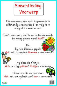 Sinsontleding: Voorwerp Grade R Worksheets, Afrikaans Language, School Fun, School Stuff, Dutch Language, Afrikaans Quotes, Kids Poems, Preschool Learning Activities, School Posters