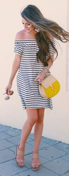 #spring #summer #fashionistas #outfitideas  Striped Off Shoulder Dress  Southern Curls & Pearls