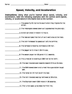 speed velocity and acceleration engaging cut and glue worksheet worksheets. Black Bedroom Furniture Sets. Home Design Ideas