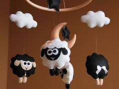 Sheep baby mobile girl Black and white baby by FeltBabyCorner