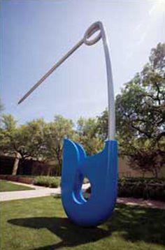 Corridor Pin, Blue, Claes Oldenburg and Coosje van Bruggen, CenterPark Soft Sculpture, Garden Sculpture, Sculptures, Claes Oldenburg, Pop Art Movement, Dallas Texas, Everyday Objects, Shopping Center, Popular Culture