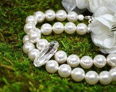 #Pearl #bridal #bracelet Double strand by MossRoseBrideJewelry, $65.00