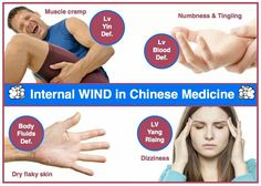 Internal wind TCM (Lv Yin Def. / Muscle cramp; Lv Blood Def. / Numbness and tingling; Body fluids Def. / Dry, flaky skin; Lv Yang rising / Dizziness)
