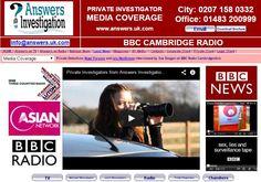 #SueDougan of #BBC #Radio interview #PrivateInvestigators: http://www.answers.uk.com/admin/bbccambridgeshiresuedougan100202.html T:01483 200999  Private Detectives from Private Investigator Answers Investigation interviewed by Sue Dougan on BBC Radio Cambridgeshire  http://www.answers.uk.com T:01483 200999