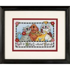 Life is Nothing Without Friends Stamped Cross Stitch Kit I Love Cross Stitch