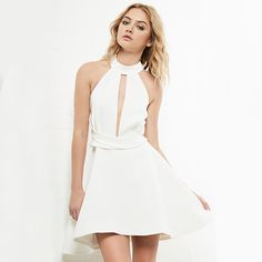 White Cutout Halter Neck A-line Women Summer Casual High Low Mini Dress