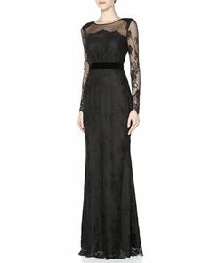 This dress took my breath away. Wow! Three-Quarter-Sleeve Lace Gown, Black by Notte by Marchesa at Neiman Marcus