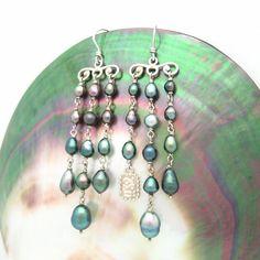 Tahitian Keishi Silver Chandelier Earrings by MooreaDesign on Etsy, $430.00