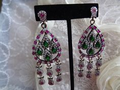 Red Carpet Dangle Earrings Ruby Earrings by RicaJewelsCalifornia, $89.98