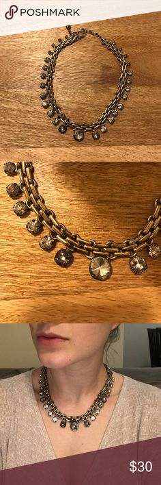 Dark Gold Necklace Jewels that go from biggest in the center down to the smallest. Talbots Jewelry Necklaces