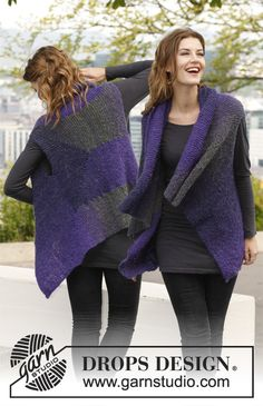 """Free pattern: Knitted DROPS vest with short rows in """"Verdi"""". Size S-XXXL."""