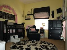 Black & pink baby girls room