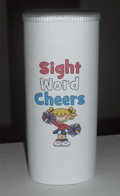 Sight Word Cheer Can made out of Crystal Light container