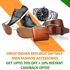 #Voloshopee presents #GreatIndianRepublicDaySale 2017. Exclusive #MenFashionAccessories available upto 70% Off, #Watches #Handbags #Footwears #Wallets #Belts #Sunglasses & much more
