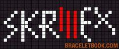 Alpha friendship bracelet pattern added by skrillex dubstep music. Word Patterns, Alpha Patterns, C2c Crochet, Crochet Chart, Friendship Bracelet Patterns, Friendship Bracelets, Cross Stitch Patterns, Stitching Patterns, Music Logo
