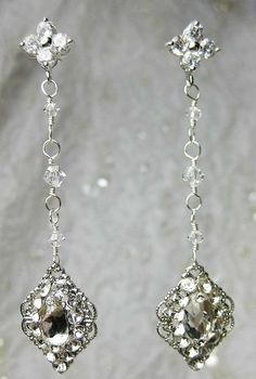 Beautiful vintage inspired earrings made with  Swarovski rhinestones and crystals.