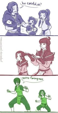 Airbender: All Grown Up - Katara, her children Bumi, Kya and Tenzin / Mai and her daughter / Toph and her daughter, Lin
