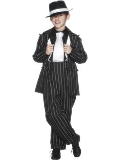 Buy this Zoot Suit boys gangster costume online today at Heaven Costumes. Great quality fancy dress costume for boys, so you can be the leader of your own mob! Kids gangster costumes are in stock for express delivery Australia wide. 40s Costumes, Tween Halloween Costumes, Gangster Costumes, Childrens Fancy Dress, Boys Fancy Dress, Trajes Zoot, Gangster Fancy Dress, Gangster Style, Carnival