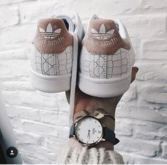 Bright White Cross Patterned Adidas Stan Smith Sneakers With Pink Suede Detailing Summer Time