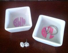 Monogram Ring Dish  Petite Sized  Perfect by NaturallyChicHome, $8.00