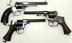 French Related Pistols of the American Civil War. 1. A Liege manufactured E. LeFaucheux Brevete 6 shot, 12 millimeter (.47 cal.) pinfire cartridge single action revolver. 2. A Paris, France made Perrin 6 shot, 12 millimeter (.47 cal.) center fire internal primed cartridge double action only revolver. 3. An unmarked George Raphael 6 shot, 11 millimeter (.42 cal) center fire internal primed cartridge double action revolver.