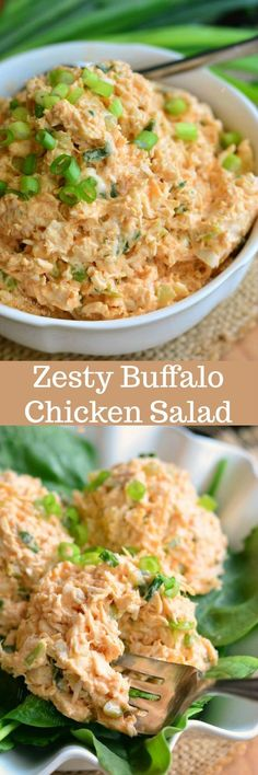 Zesty Buffalo Chicken Salad. This tasty buffalo chicken salad is made with an addition of sriracha sauce, green onions, celery, and Monterrey Jack cheese.