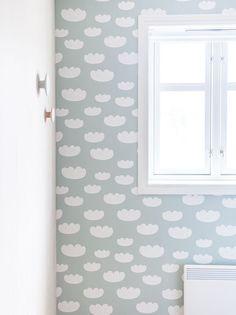 cloud wallpaper in mint by ferm living