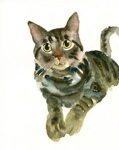 CUSTOM PET PORTRAIT  Original watercolor painting by dimdi on Etsy,