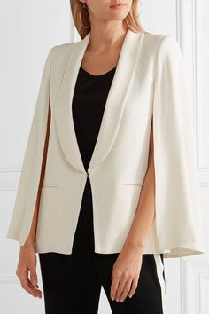 Ivory crepe Concealed hook fastening at front 78% acetate, 22% viscose; lining: 100% silk Dry clean Imported