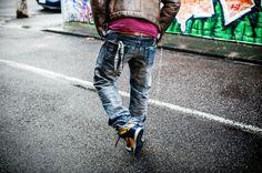 #prps #P43P03E #barracuda #denim #jeans, #Belstaff Brad #shearling #jacket and 2003 #Nikedunk Michigan #hightop #sneakers on #sneakersjeansandtees
