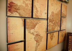 DIY World Map Wall Art.  I need this in my life. :D