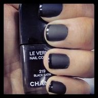 The Anti-Simple Girl French Manicure: 1 coat black satin + 1 coat matte top coat + 1 coat black satin on tips