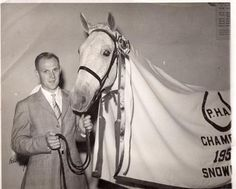 """Snowman with his owner/rider Harry de Leyer -- the subject of the most excellent book """"Eighty Dollar Champion"""" by Elizabeth Letts. You have to read this book, its great! Horse Photos, Horse Pictures, Snowman Horse, Equestrian Chic, Horse Love, Crazy Horse, Vintage Horse, Beautiful Horses, Pretty Horses"""