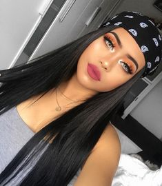 Hottest Long Black Traight Middle Part Lace Front Wigs, Natural Black Long Hair Where to Buy? Baddie Makeup, Sexy Makeup, Glam Makeup, Beauty Makeup, Makeup Looks, Hair Makeup, Hair Beauty, Makeup Style, Bandana Pelo