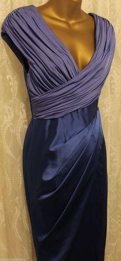 Karen Millen Signature Satin Long Structured Party Evening Maxi Dress £295 6