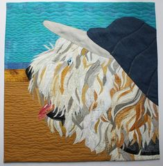 Custom Memory Quilts, T-shirt quilts, Necktie quilts,, HappyQuiltDesigns Dog Quilts, Animal Quilts, Shirt Quilts, Necktie Quilt, Class Pet, Free Motion Quilting, Art Quilting, Labradoodle, Dog Art