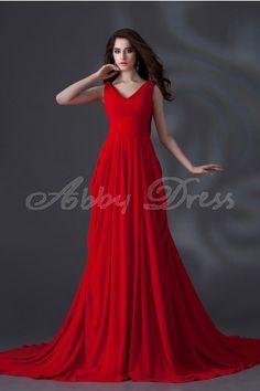 Elegant, Terse V-neck Evening Dresses Formal Evening Red- Abbydress.com