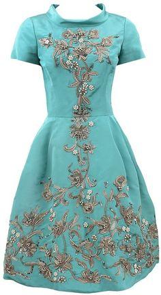 Oscar De La Renta Blue Off Shoulder Sequin Embroidered Dress