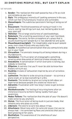 There are some common feelings we all have, yet don't quite have the words for. Check out how to talk about your feelings with words from the Dictionary of Obscure Sorrows. Book Writing Tips, Writing Words, Writing Help, Writing Skills, Writing Ideas, Writing Poetry, Essay Writing, Poetry Prompts, Poem Writing Prompts