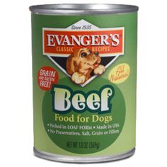 Evanger's 100% Beef is Grain-Free and Gluten-Free, and makes a great complement to our Super Premium and Grain Free dry foods. It can also be mixed with Evanger's canned Vegetarian Dinner to make a complete, balanced, and very nutritious diet. 100% Beef is endorsed by the cRc Kosher for Passover