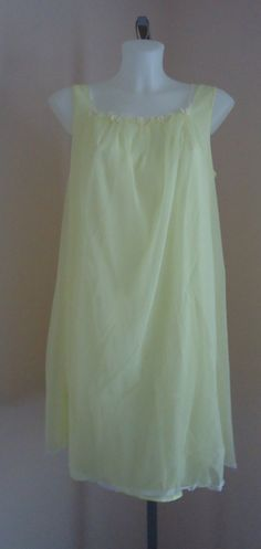 Vintage 1960s Vassarette Yellow Chiffon Nightgown on Etsy, $65.80 CAD