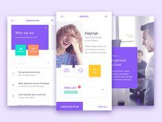 In-House App (Profile / Orientation Screen) by Alper Tornaci  app  concept  design  ios  list  mobile  navigation  profile  ui  ux profile purple yellow green orange flat clean
